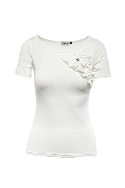 Rövidujjú póló fodros rátéttel - Fehér