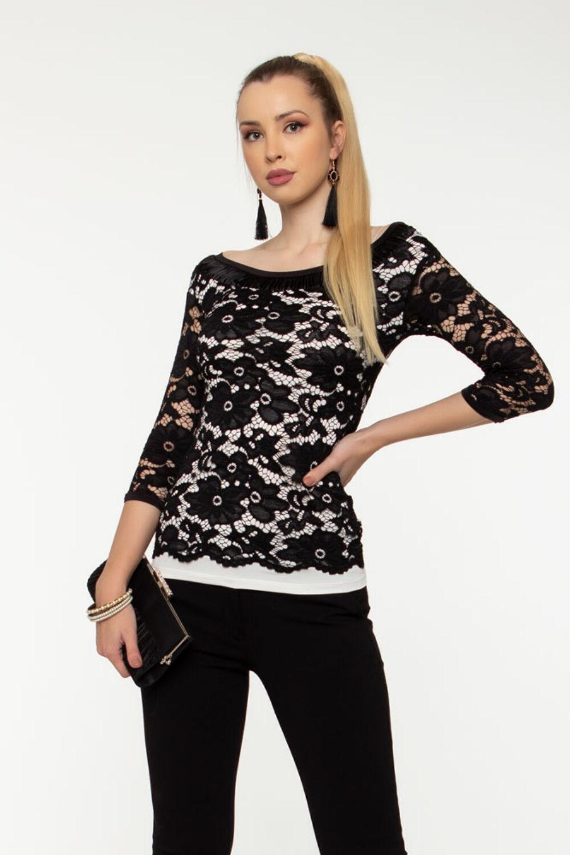 Eliza csipkés póló - fehér/fekete