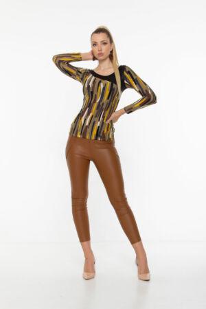 Adél póló - keki alapon mustár/barna/fekete/fehér hasábos minta