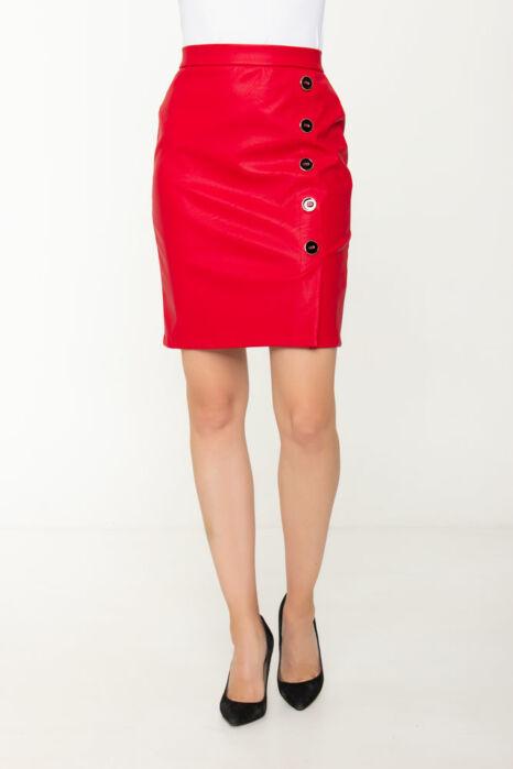 5 gombos textilbőr szoknya - Piros