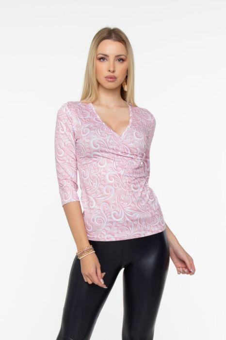 Bea átlapolt póló - rózsaszín mintás