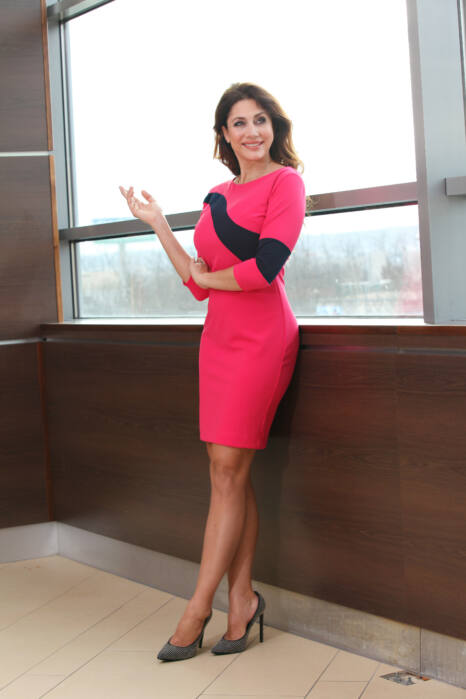 3/4-es ujjú, hullámdíszítésű ruha - pink/fekete