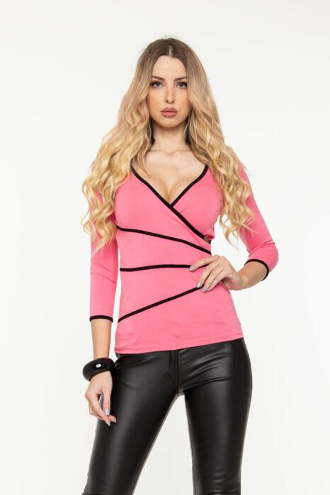 Detti átlapolt póló - rózsaszín/fekete