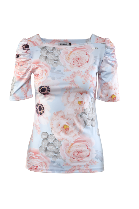 Puffos ujjú póló - Kék, virágmintás