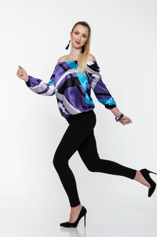 Trixi gumisnyakú blúz - fényes kék/lila/fekete