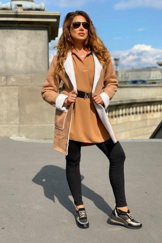 Roxána kabát - Világos kakaó/fehér szőr