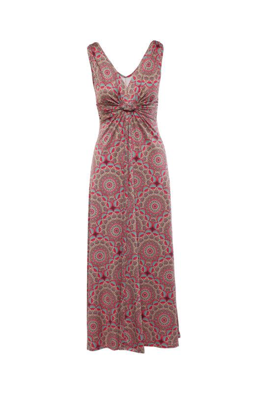 Lágyesésű, csavart dekoltázsú mandala mintás maxi ruha