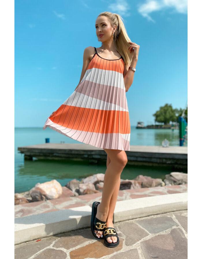Plisszé ruha - narancs