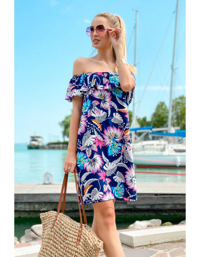 Mimi ruha - kék alapon mintás