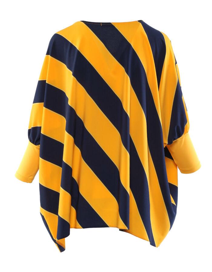 Lebegős blúz - kék/sárga átlós csíkos