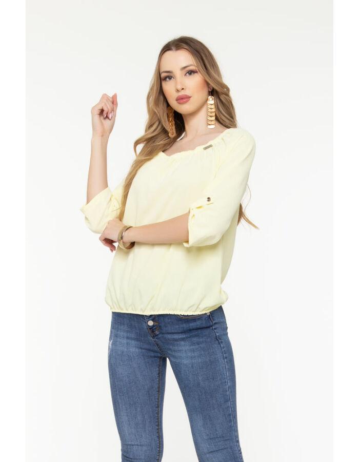 Trixi gumisnyakú blúz - pasztell sárga