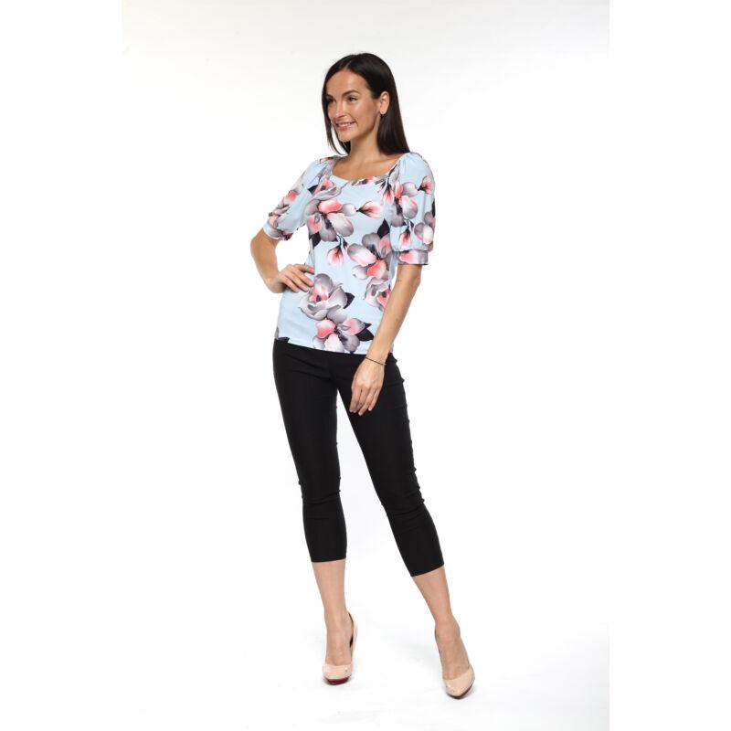 Puffos ujjú póló - fekete, fehér, pink mintás