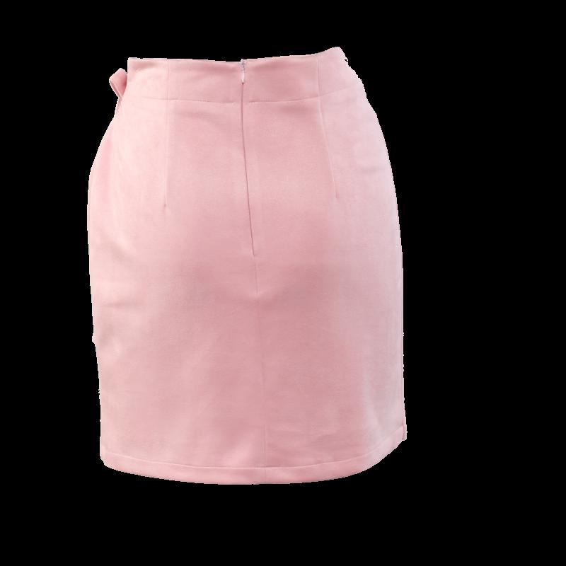 Velúr hatású ringlis szoknya - Rózsaszín