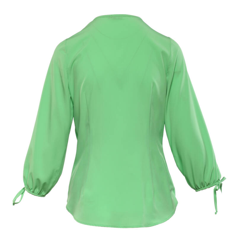 Átlapolt, csavart aljú, puffos ujjú blúz - Zöld